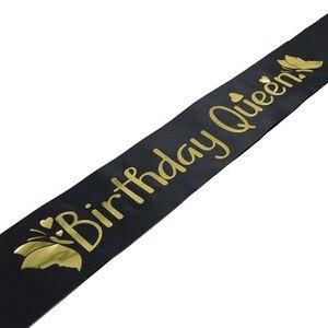 Image 4 - Elegante aniversário rainha cetim sash feminino meninas rainha aniversário sash festa de aniversário decorações ideias suprimentos