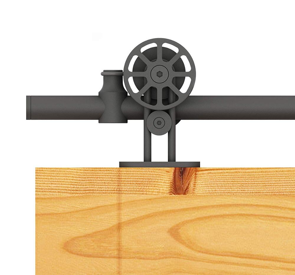 DIYHD Top Mount Black Sliding Barn Wood Door Track Kit Barn Wood Door Hang Track Kit Hollow-out Wheel Barn Track