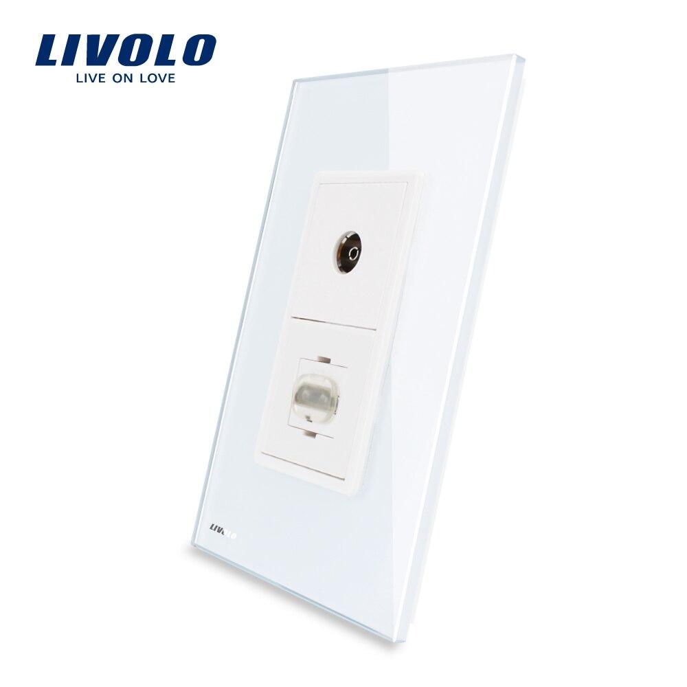 Livolo nouvelle prise TV et HDMI de luxe Standard US/AU avec VL-C591VHD-11 en verre cristal blanc perleLivolo nouvelle prise TV et HDMI de luxe Standard US/AU avec VL-C591VHD-11 en verre cristal blanc perle
