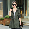 M-4Xl Plus Size Women Autumn Spring Trench Coat Hood Female Long Sleeve Solid Autumn Spring Trench Coat Women Clothing A3043