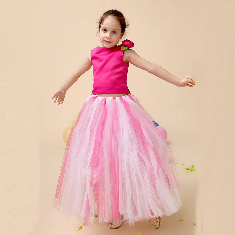 Kids Children Flower Girls Ball Gown Mesh Girl Princess Tutu Dresses Back Bandage Tops Baby  Wedding Party  Dress Vestidos S3542 цены онлайн