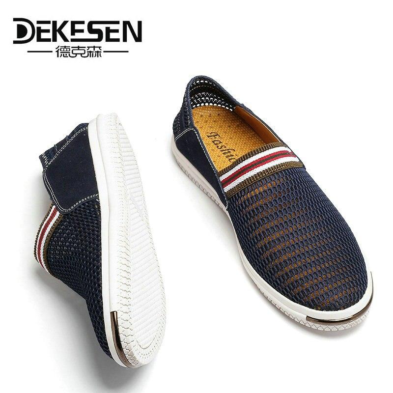 Dekesen 2017 nuevos hombres del verano de malla zapatos mocasines slip on Super