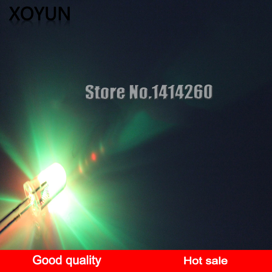 100pcs/lot 3MM Three-color LED LED Flash Flash LED Long Legs