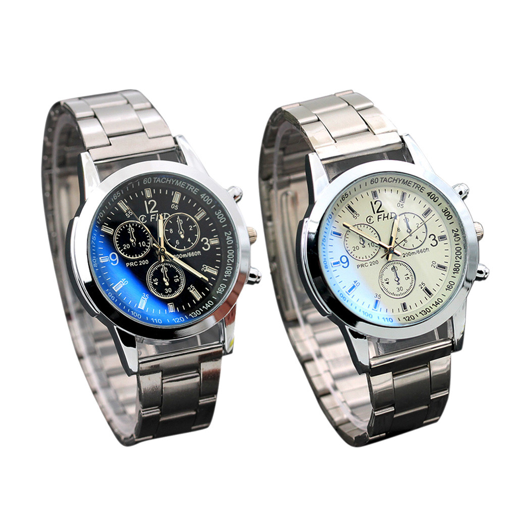 FHD Men's Stainless Steel Watch 2019 Fake Three Eyes Speed Digital Black White Dial Casual Business Quartz Watch Reloj Hombre@9