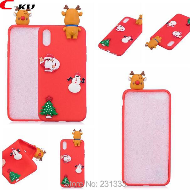 C-ku 3D Merry Christmas Tree Soft TPU Case For Iphone X 8 7 PLUS 6 6S SE 5 5S Huawei P8 LITE 2017 P10 Santa Claus Deer Skin 1pcs