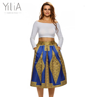 Yilia Dashiki Skirt African Print Boho Summer 2018 Beach Maxi Skirts Vintage Flare High Waist Tribal