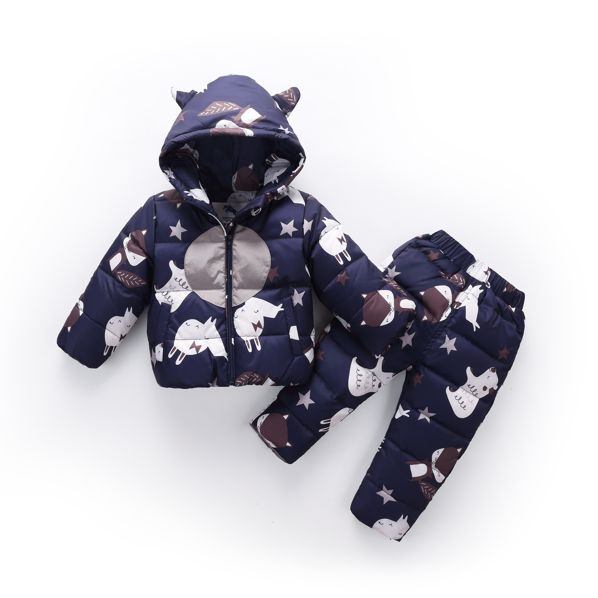 1-4y Baby Boys Girls Clothing Sets Winter Cartoon Warm Down Jacket Children Pants + Coats Hoodie Clothes Girl Clothing Brand Set все цены