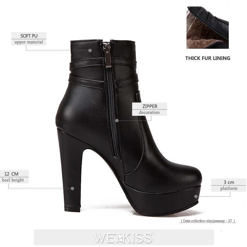 WETKISS 2020 Kış Yüksek Topuklu Ayak Bileği Kadın Çizmeler Yuvarlak Ayak Ayakkabı Kristal Pu kadın ayakkabısı Kış Platformu Çizme Büyük Boy 34 -50