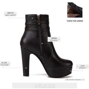 Image 3 - WETKISS 2020 ฤดูหนาวรองเท้าส้นสูงข้อเท้ารองเท้าผู้หญิงรอบ Toe รองเท้าคริสตัล Pu หญิงรองเท้าแพลตฟอร์มฤดูหนาว Boot ขนาดใหญ่ 34 50