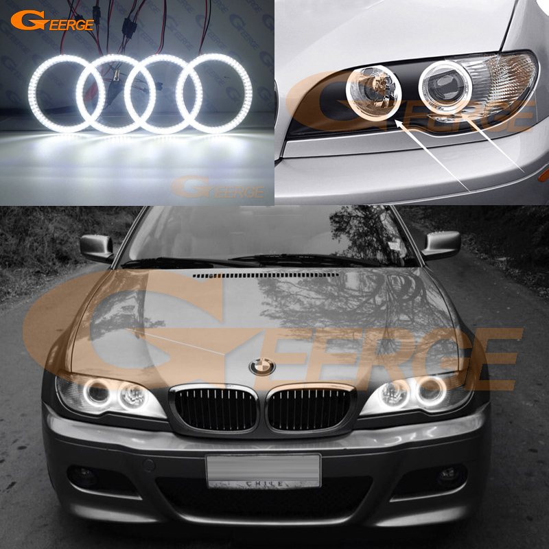 For BMW E46 Cabrio Coupe 325ci 330ci 2004 2005 2006 Facelift Excellent Ultra bright illumination smd led Angel Eyes kit DRL simple v neck cap sleeve pure color spliced blouse for women