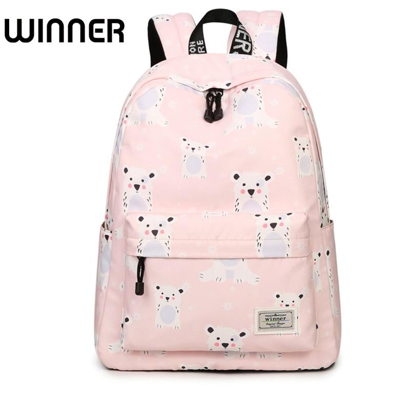 Fresh Waterproof Polyester Women Backpack School Bag Pink Cute Cool Dog and Rabbit Pattern Printing Girls Knapsack Mochila