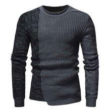 PADEGAO autumn new Mens sweater Fashion personality men round collar Color matching pullover irregular Slim