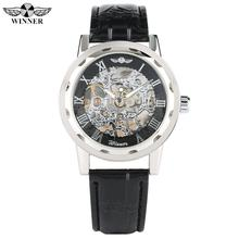Fashion Skeleton Watch Mechanical for Men Silver Case Watch for Teenagers Business Hand-Wind Mechanical Watches for Boy все цены