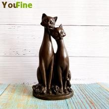 Bronze cute cat sculpture cartoon animal statue modern home decoration art
