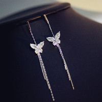 2019 Fashion jewelry Delicate Butterfly Zircon Sweet Earrings Crystal from Swarovski Fit Women and female for Wedding Party
