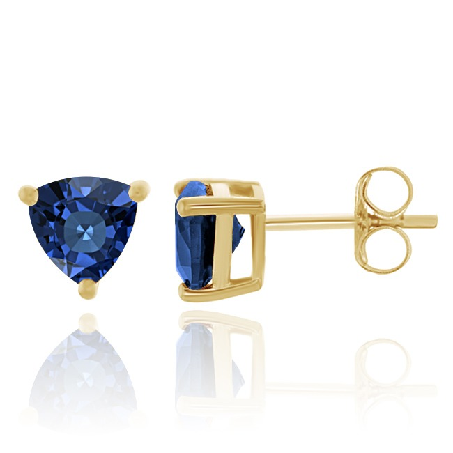 2.93 Ct Trillion Cut Blue Sapphire 18K Yellow Gold Over Silver Stud Earrings все цены
