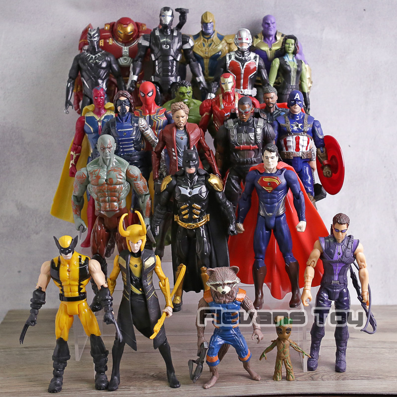 24 pièces/ensemble Logan Loki Rocket Superman Batman four-man Hulk Spiderman Iron man figurines d'action Super héros jouets cadeau pour les enfants