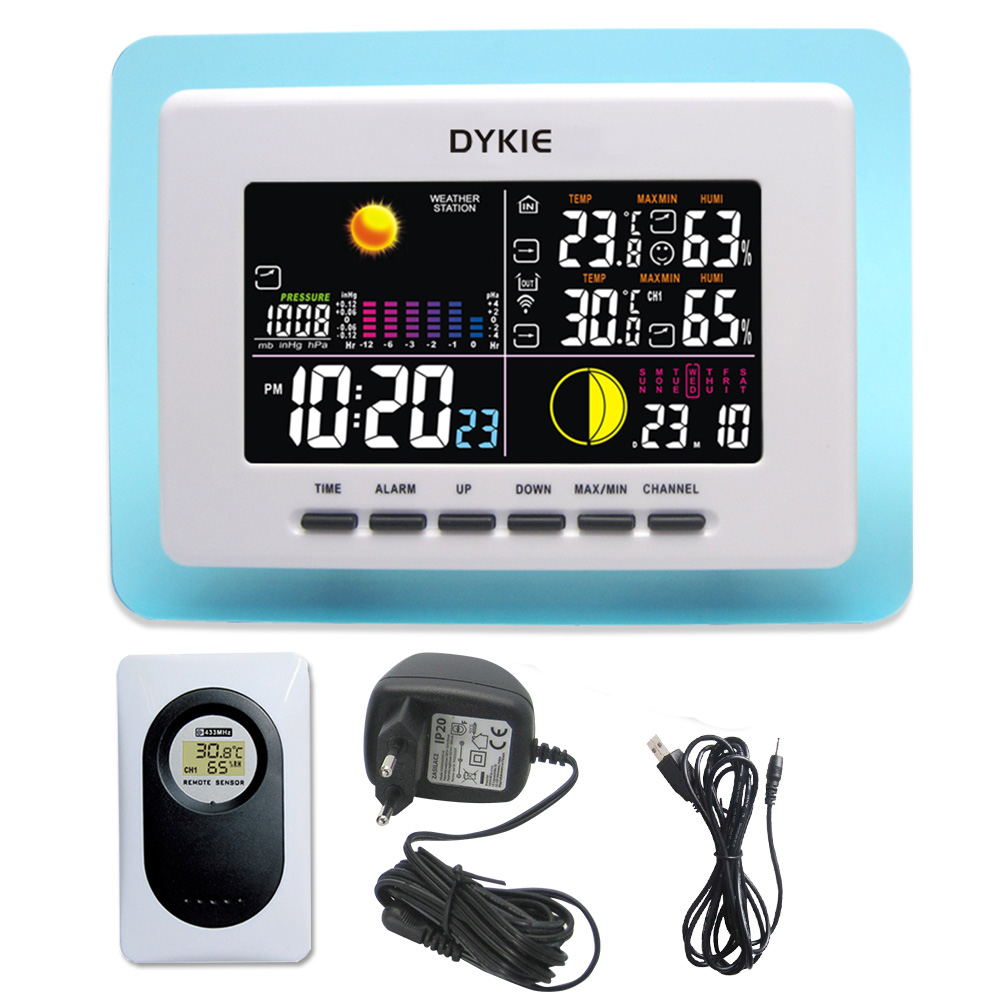 Digital LED Weather Station Wireless Indoor Outdoor Barometer Thermometer Hygrometer Electronic Temperature Humidity Meter Clock smart multi functional weather station color led in outdoor electronic thermometer hygrometer home wireless comma weather clock