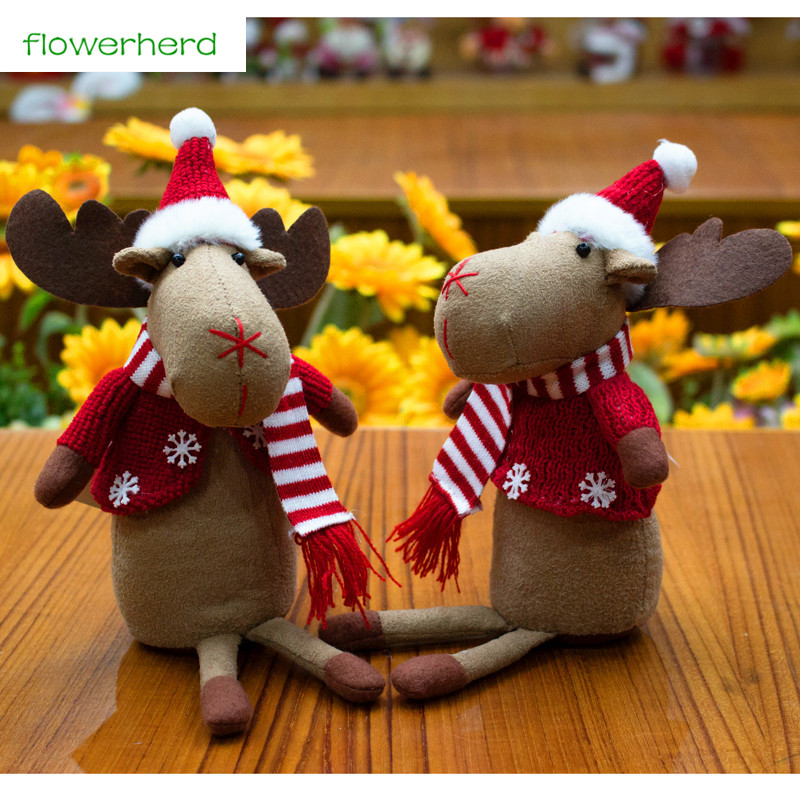 1pc 18cm Christmas Decoration Elk doll Christmas Gift for Kids Window Ornaments New Year Decoration for Home Christmas Doll
