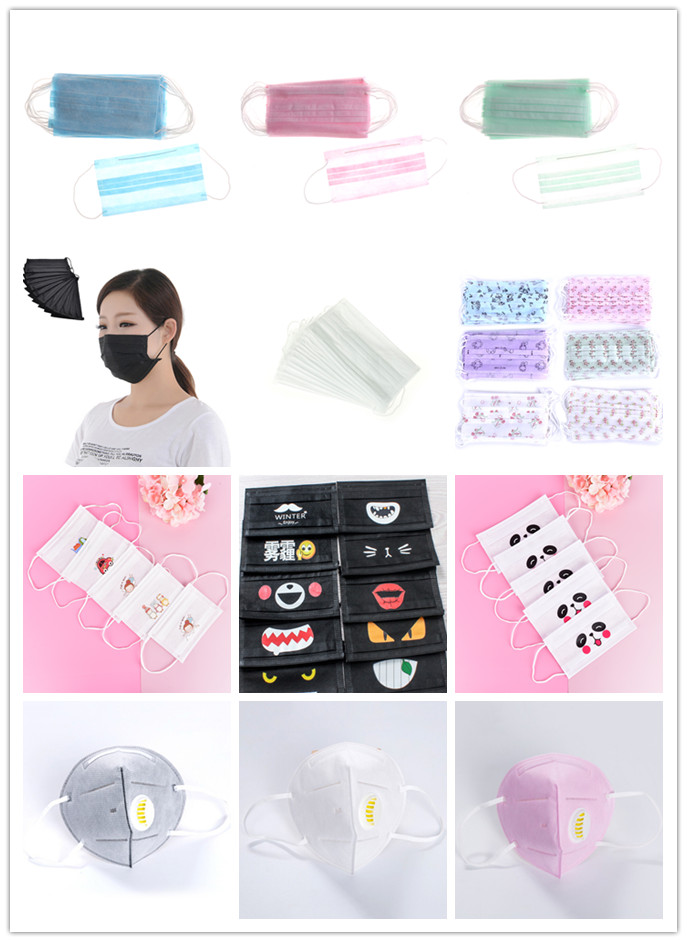 20PCS/10PCS/5PCS/1PCS Cute Cartoon Disposable Mouth Mask Anti-dust Windproof Masks Non-woven Mouth-muffle Flu Face Medical Mask