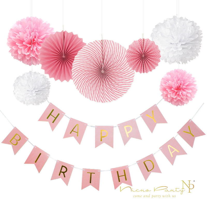 Nicro 8 piezas DIY Rosa decoración de la fiesta de cumpleaños Banner ...