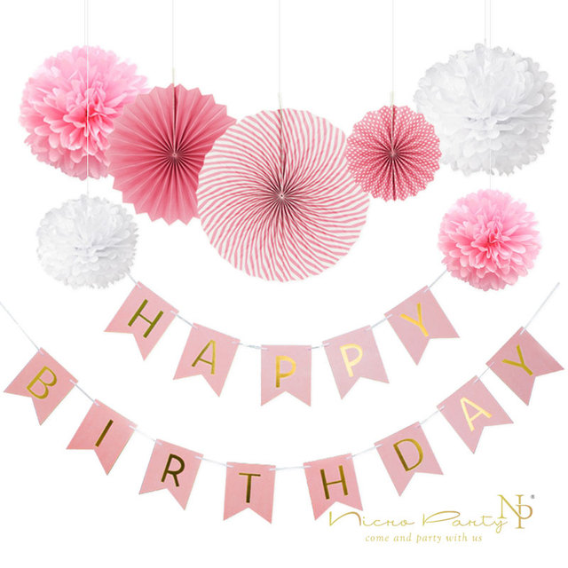 Nicro 8Pcs DIY Pink Birthday Banner Flower Paper Fan Set Tissue
