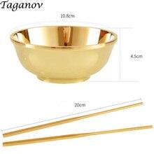 100% copper tableware bowl kit Dinnerware Sets dinner set stainless steel brass cutlery gold family gifts