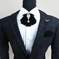 De frete Grátis new men masculino banquete Artesanal padrão de diamante nó de gravata Britânico show de flor do casamento do noivo Padrinhos Praça Bolso