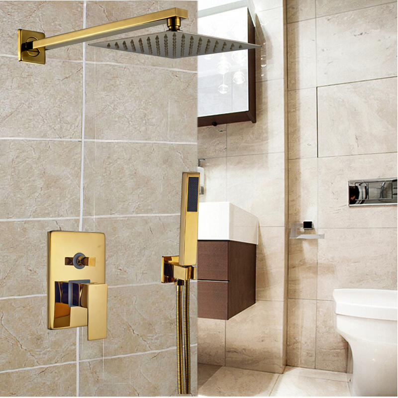 Golden Wall Mount 8 Ultrathin Showerhead Bathroom Shower Mixer Faucet Single Handle 2 Ways Mixer Valve bathroom chrome shower faucet set with thermostatic mixer valve wall mount 8 ultrathin rain showerhead handshower