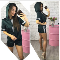 New Summer Women Sets Short Sleeve Hooded Tees Set 2 Pieces 4 Colors Sets Womens