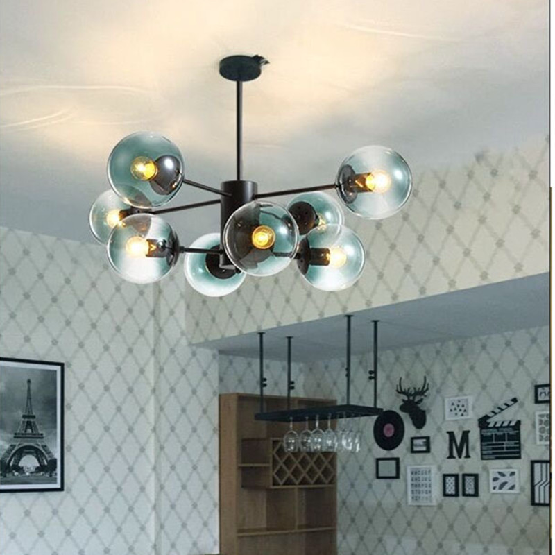 Nordic Designer Romantic Dining Room Led Pendant Light Creative Bule Glass Living Room Kitchen Hanging Lights Bedroom Led Lights fumat stained glass pendant lights small hanging glass lamp for bedroom living room kitchen creative art led pendant lights