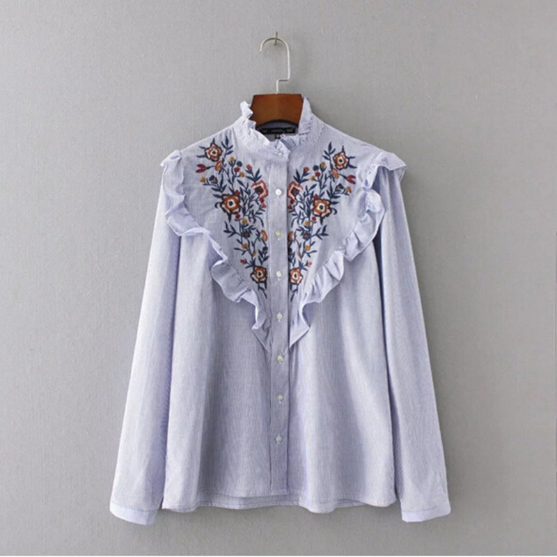 Stylish Blue White Striped Print Flower Embroidery Shirt