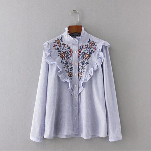 6cf51d84951bd Stylish Blue White Striped Print Flower Embroidery Shirt New Ruffled Collar  Long sleeve Ruffles Mid long Blouse Tops femme blusa
