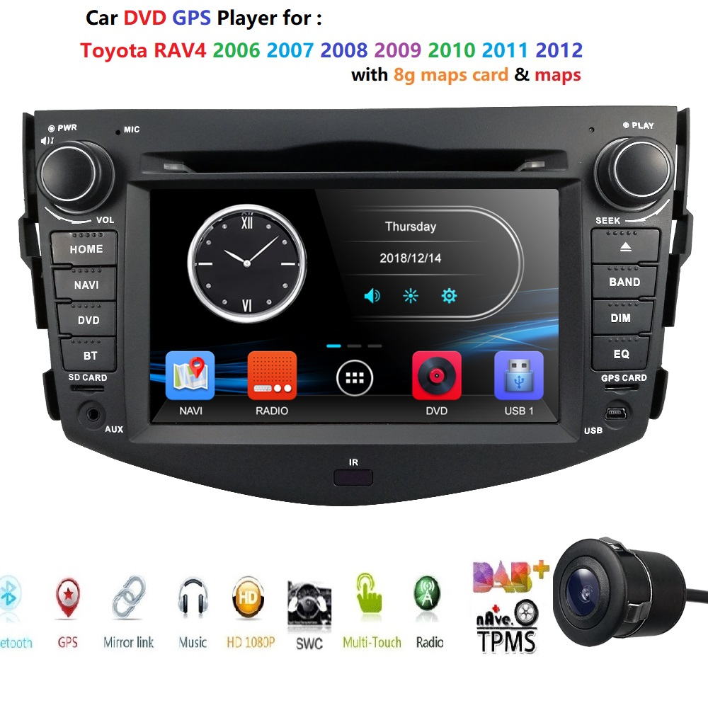 FOR TOYOTA RAV4 2006 2007 2008 2009 2010 2011 2012 Car DVD Player GPS Stereo Radio MAP CAMERA Mirror Link Steering Wheel BT DAB+|Car Multimedia Player| |  - title=