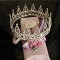 Luxury Vintage Large Size Round Full Circle 18 K Whte Gold Plated Bridal Wedding Tiaras&Crowns