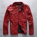 slim fitted red leather jacket men Vegetable tanned goatskin black fashion biker jacket coat for male 2016 new arrival M-XXXL