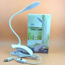 Blanc 3w LED USB lampe de Table Table lampe de lecture flexible support pince lampe de bureau mode nouveauté cadeau pour étudiant