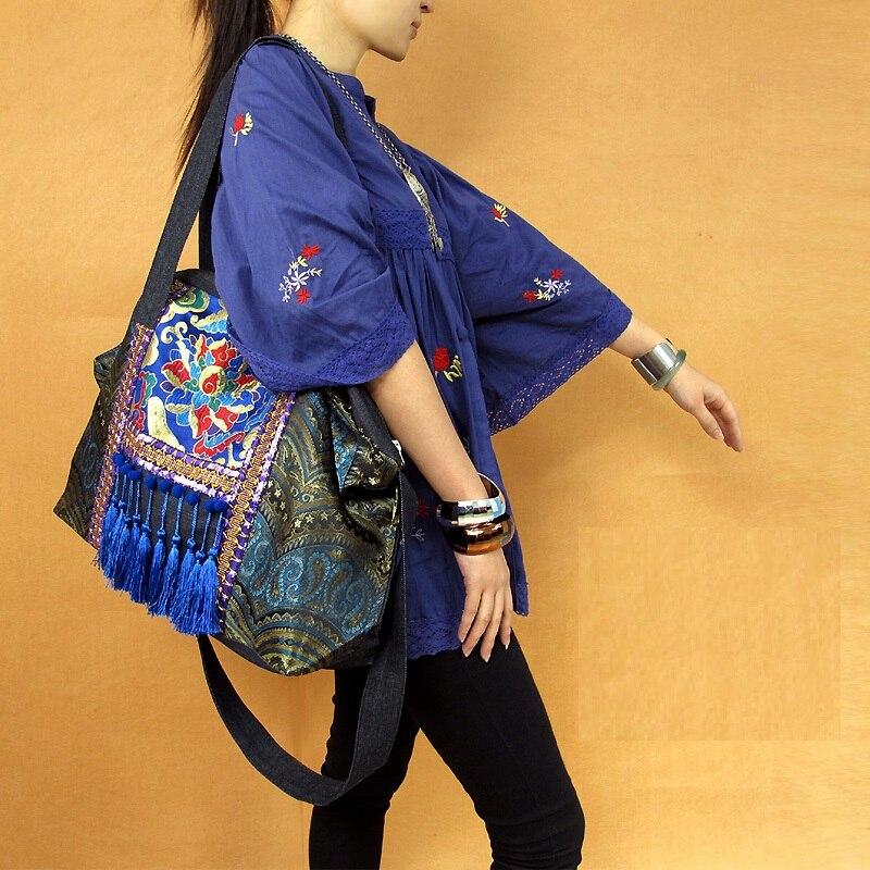 Cloche de route ancienne, style folk style chinois rétro art gland sac sac à bandoulière sacoche sac de voyage sac de cowboy bleu he