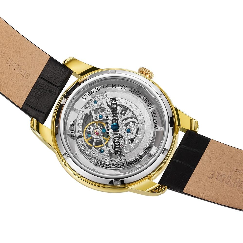 a3f19a61937 Kenneth Cole Mens Relógios Auto Mecânica Ouro Fivela De Couro Preto ...