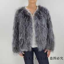 2016 New Design Real Silver Fox Fur Knitted Jacket Women Winter Warm Fashion Coat S1561WS