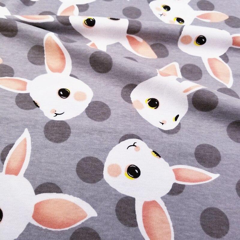 Imprimé Gris Lapin Demi-Mètre Bébé Coton Tricoté Jersey Tissu pour DIY vêtements, bavoirs, enduit, les draps En Coton Tissu