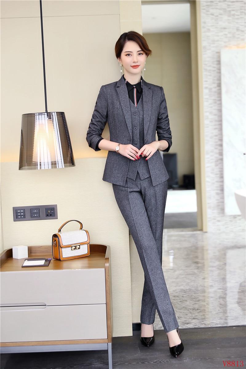 D'affaires Nouveau Gilet 2019 Et Pantalon Pièce Costumes Veste Dames Femmes Formelle Gris Blazers Ensembles 3 De Blazer Élégante UpSwqr1p