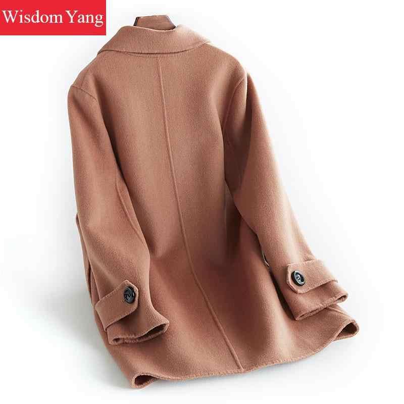 Элегантный коричневый розовый верблюжьей шерсти женские теплые зимние пальто 2018 женский Xlong пальто шерстяные женские офисные пальто Верхняя одежда