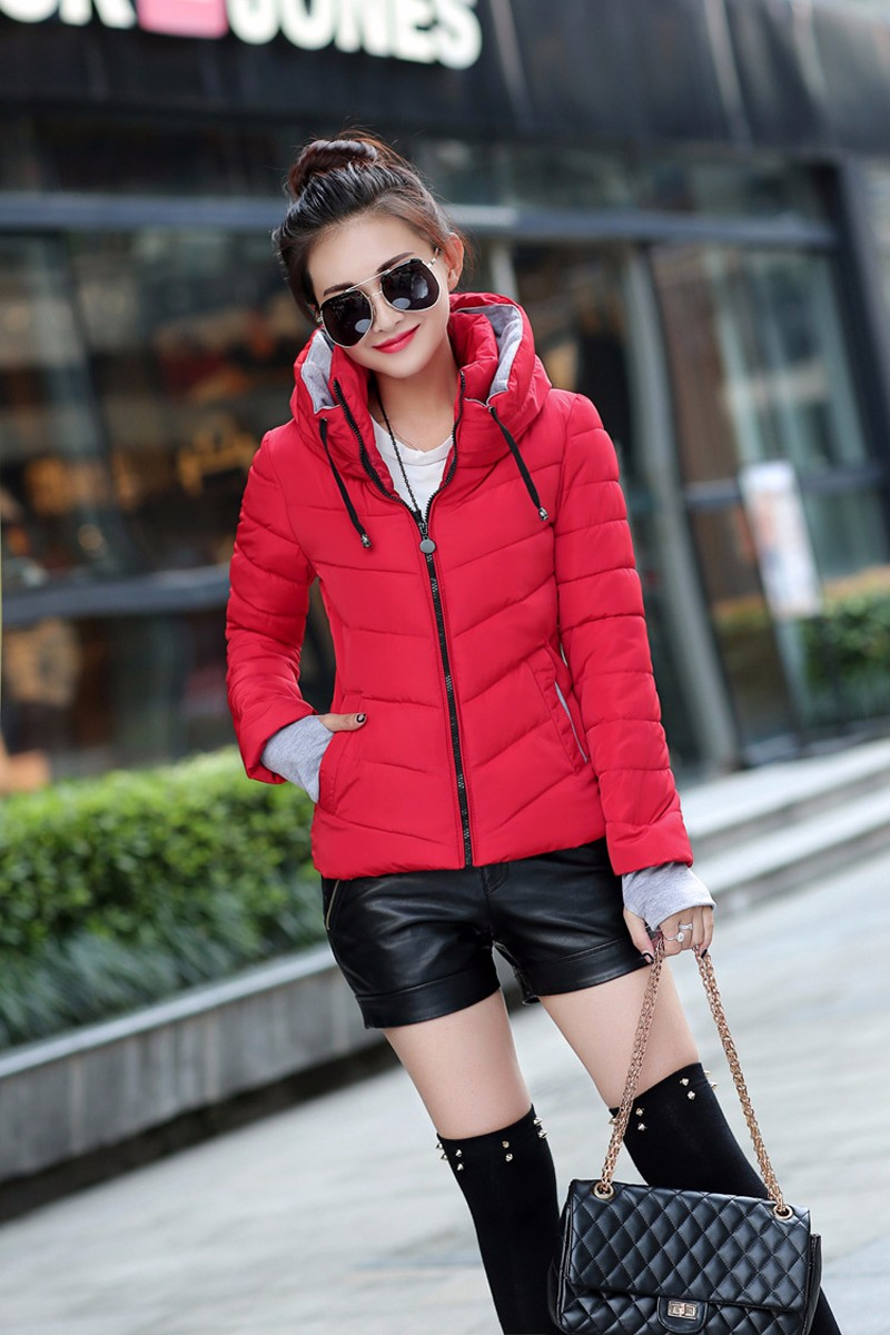 Winter Jacket Women Parkas Thicken Outerwear solid hooded Coats Short 25