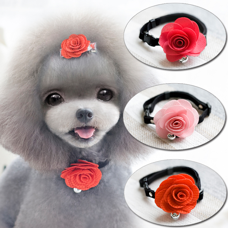 Exclusive Teddy VIP dog suit tie 3colors pet hair Princess Flower Ornament Dog neck tie pet collar