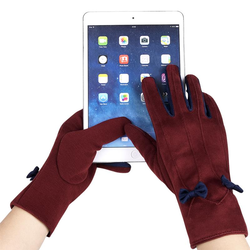 Vbiger Women Winter Warm Gloves Touch Screen Gloves with Lovely Bowknot