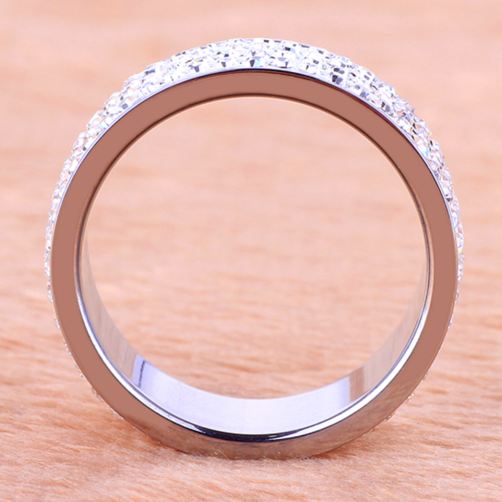 ᐂNew Desing Women\'s Fashion Ring 4 Row Clear Crystal Jewelry Gold ...
