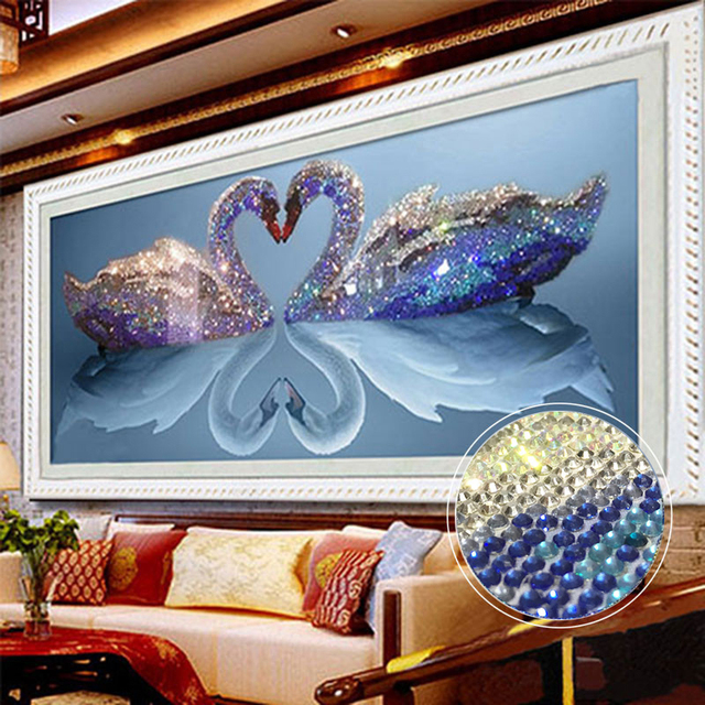 5d diy mosaic art needlework diamond painting swan rhinestone cross stitch  animal wedding diamond swans embroidery new year gift f147970f1aae