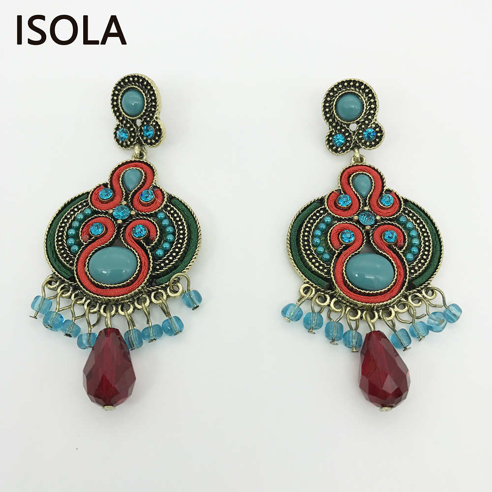 ISOLA Vintage Resin Round Soutache Earring Ethnic Style Charming Boho Earrings For Woman Jewelry Traditional Festival malaysian ethnic festival foods