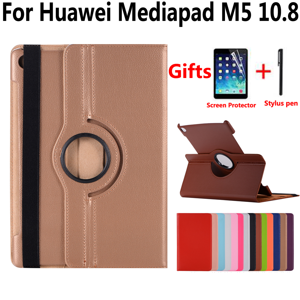 360 Degree Rotating Case For Huawei Mediapad M5 10 Pro 10.8 CMR-W09 CMR-AL09 Cover Funda Tablet Pu Leather Stand Smart Shell